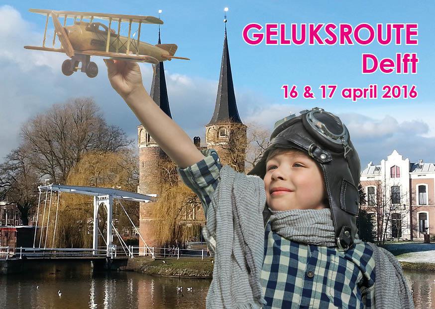 Ontwerp promomateriaal Geluksroute Delft